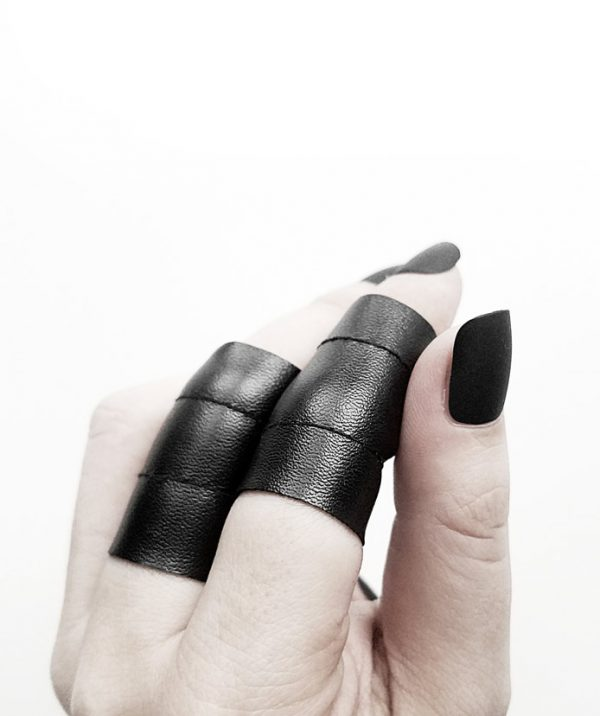 rannka-long-shield-black-vegan-leather-unisex-punk-rock-goth-ring