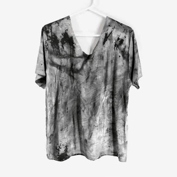 Rannka dark gray tie-dye unisex distressed t-shirt