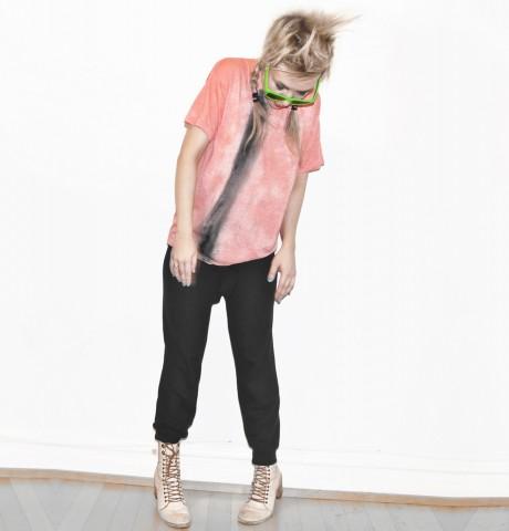 Salmon dark gray stripe hand painted t-shirt. M size