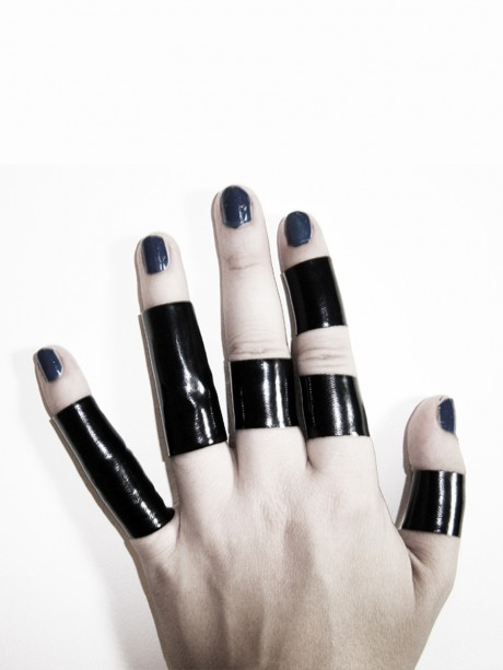 Ring Set of 3 and 5 black regular and long PVC latex rings