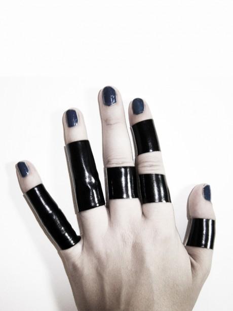 Ring Set of 3 and 5 black regular and long PVC latex rings