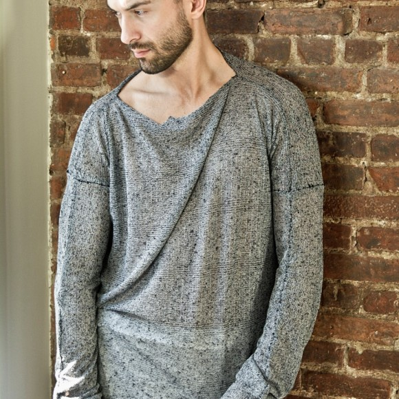 Distressed micro knit totally hand sewn unisex light sweater