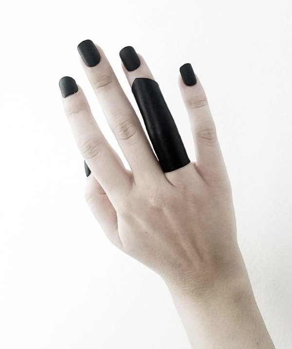 goth-dark-black-rannka-vegan-leather-ring