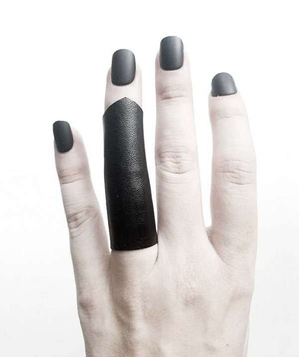 long-soft-pointy-black-vegan-leather-rannka-ring