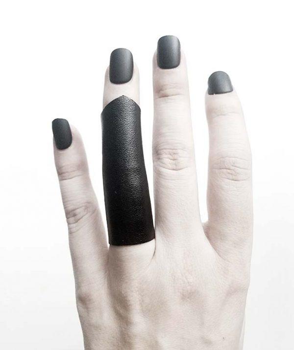 long-soft-pointy-black-vegan-leather-rannka-ring