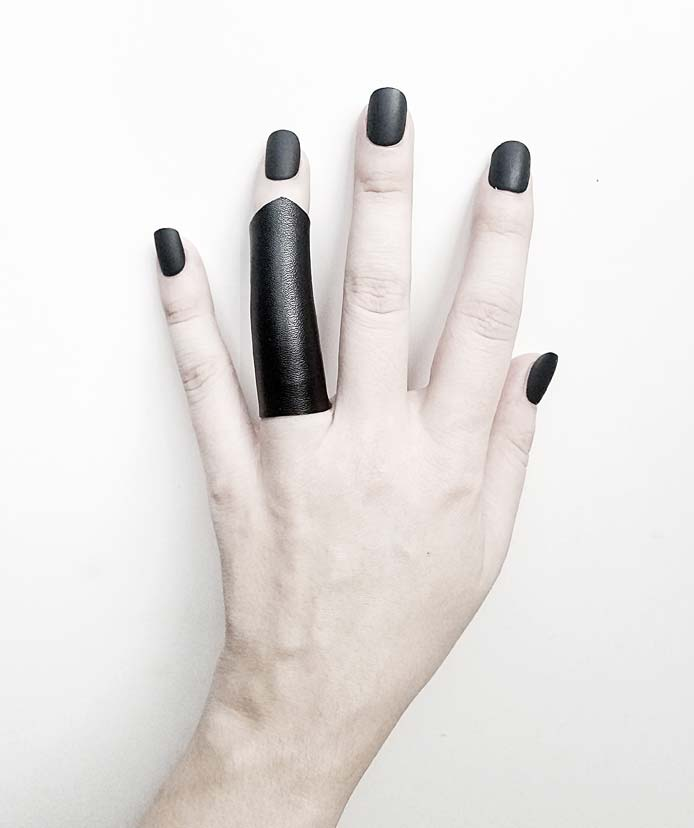 man-woman-long-pointy-vegan-leather-rannka-ring