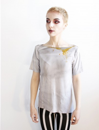 Ash 4 Yellow Spill Grey T-Shirt S-M size