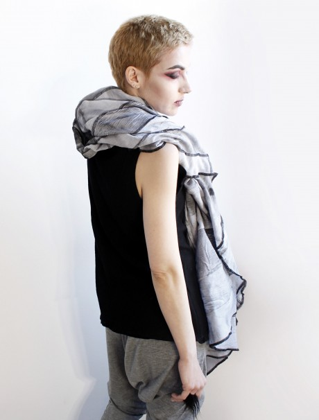 Deconstructed light blue, grey and black oversize cotton scarf