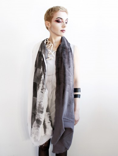 Analogue 3 White Grey Long Scarf