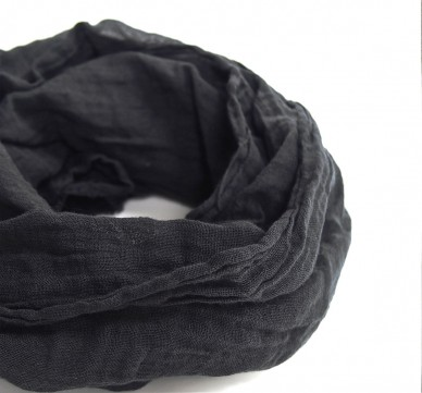 Black Lightweight Cotton Gauze Scarf
