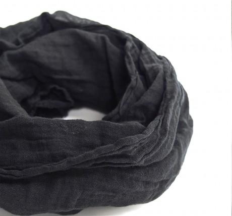 Black Lightweight Cotton Gauze Scarf