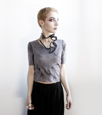 Black long Acai seed necklace