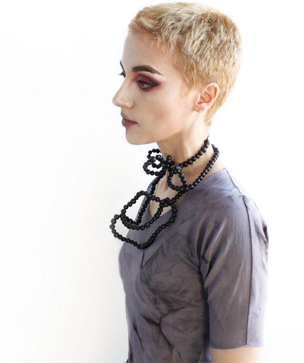 long black acai seed necklace eco beads vegan jewelry rannka