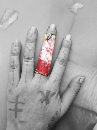 Midnight bloom print vegan ring size 8