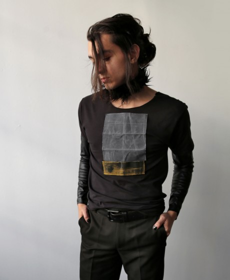 Gray and Yellow T-shirt, L size