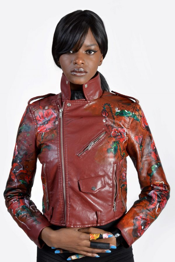 1 Poppy hand painted dark red unisex vegan leather rannka jacket