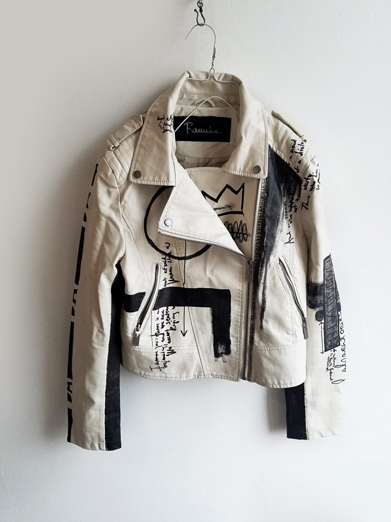 10 DADA hand painted white rannka unisex vegan leather jacket