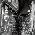 12 Numb hand painted black rannka uniseex vegan leather jacket