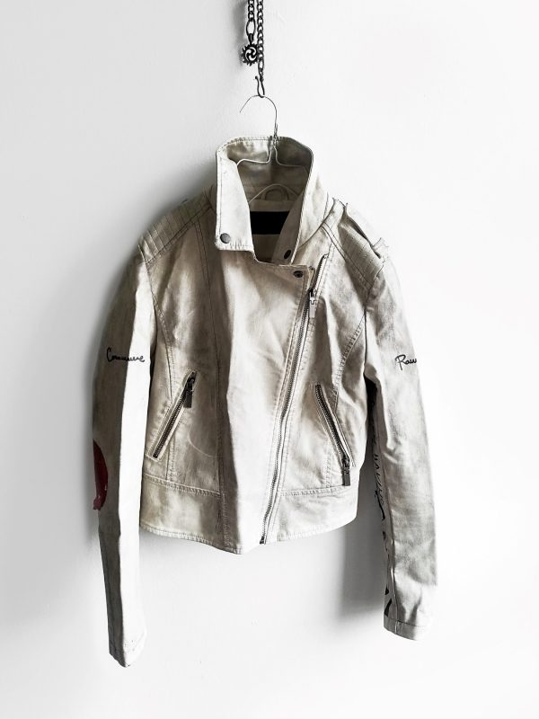 17 Commune hand painted off white rannka unisex vegan leather jacket