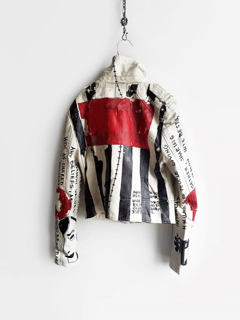 21 Commune hand painted off white rannka unisex vegan leather jacket