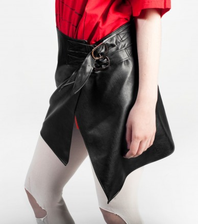 Black vegan leather half skirt