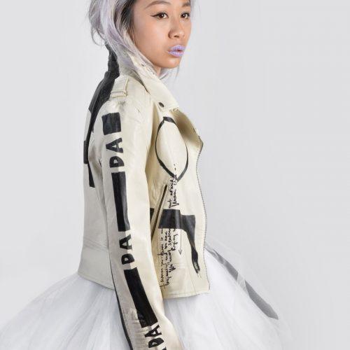 5 DADA hand painted white rannka unisex vegan leather jacket
