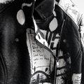 6 Rannka hand painted unisex vegan black and white jacket