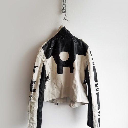 7 DADA hand painted white rannka unisex vegan leather jacket