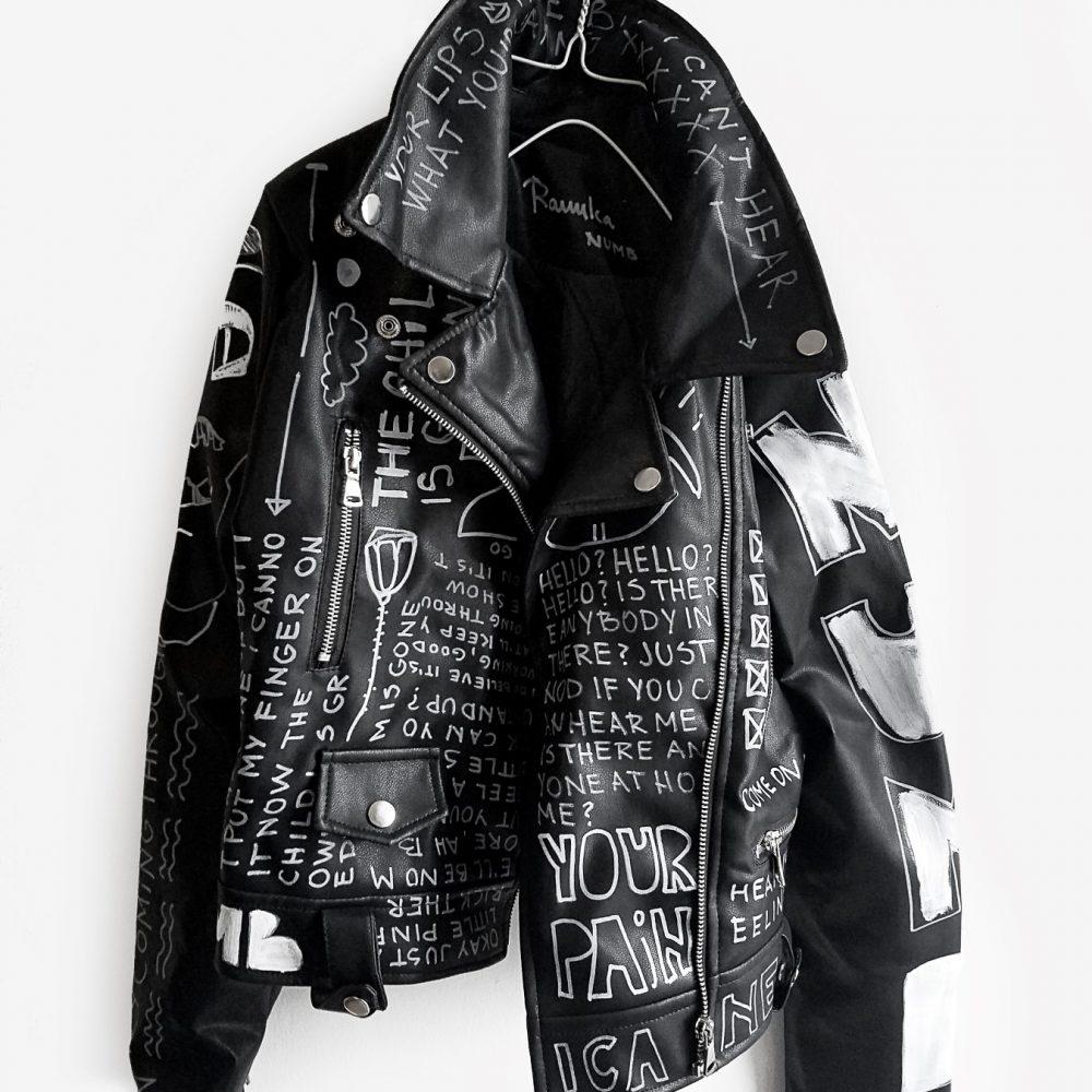 8 Numb hand painted black rannka uniseex vegan leather jacket