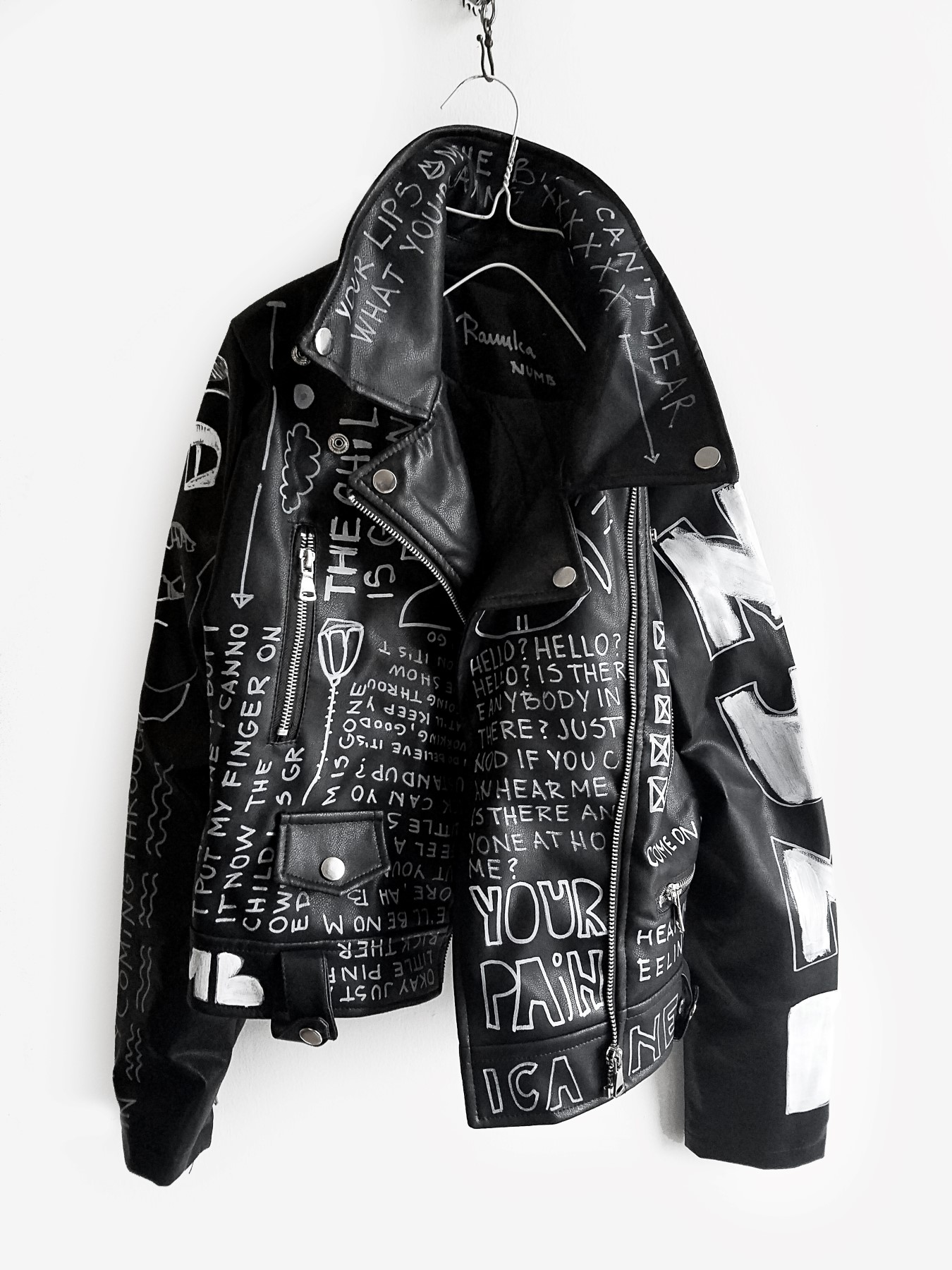 8 Numb hand painted black rannka uniseex vegan leather jacket