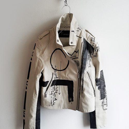 9 DADA hand painted white rannka unisex vegan leather jacket