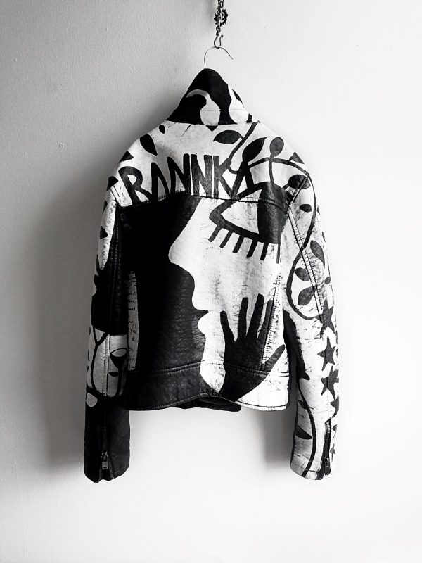 9 Rannka hand painted unisex vegan black and white jacket
