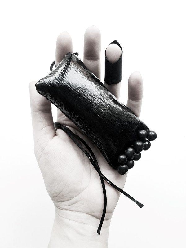 les objets rectangular black vegan large leather necklace pendant Rannka (5)