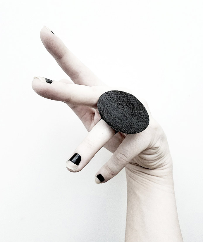 Black Sun rannka reina collection vegan leather ring