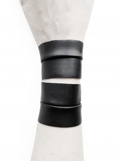 Twin bracelet black vegan leather – Reina