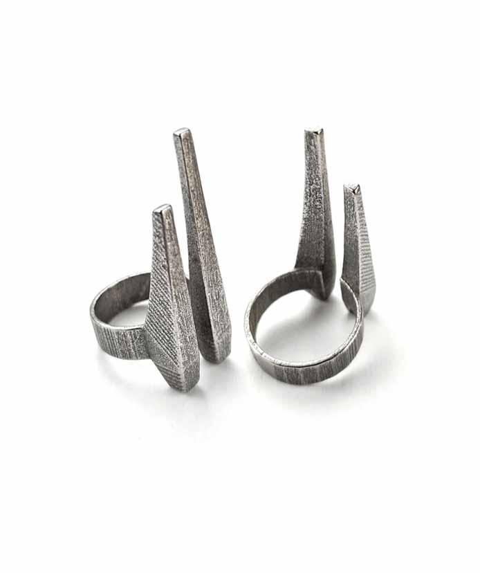 Steel SIlver Tusks Ring