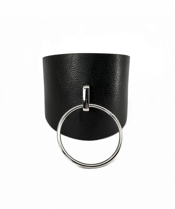 Pillar tall large o ring choker necklace unisex quality vegan sturdy textured leather punk rock modern urban choker (2)