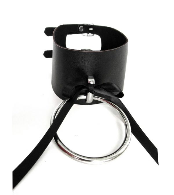 rannka-black-faux-leather-choker-with-ribbon-and-a-ring