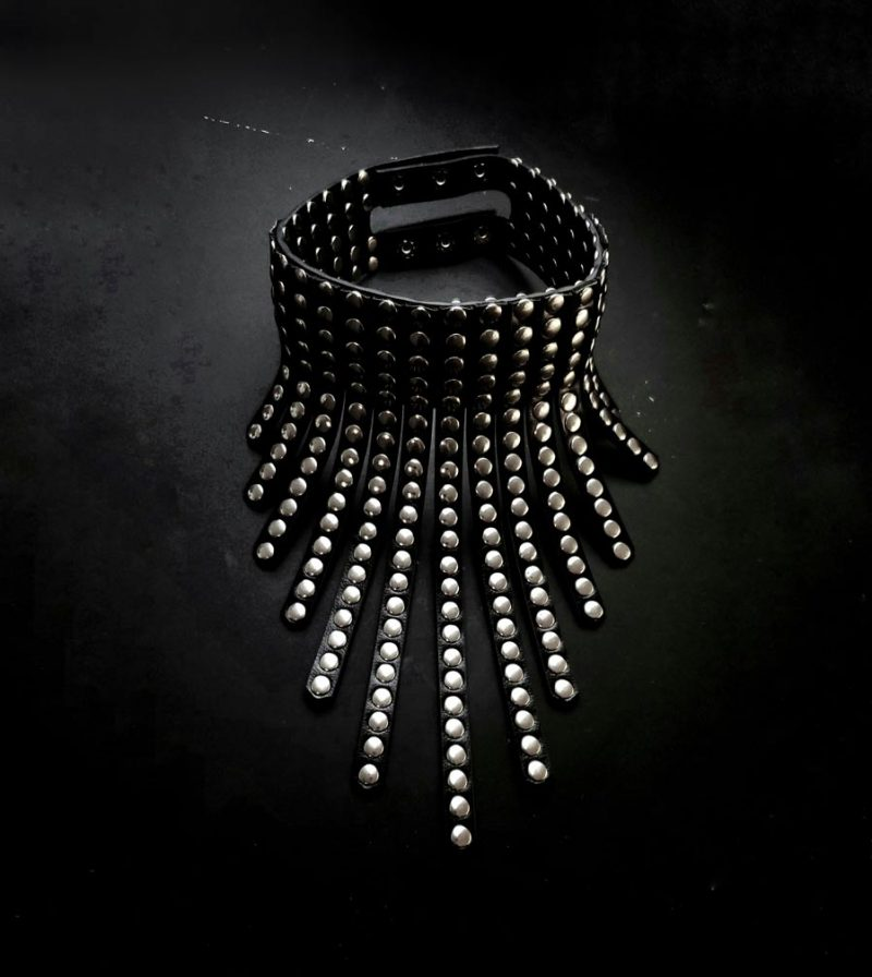 voltage-large-black-studded-unisex-chocker-necklace-rays-choker-quality-vegan-textured-leather-necklace-rannka-necklaces)