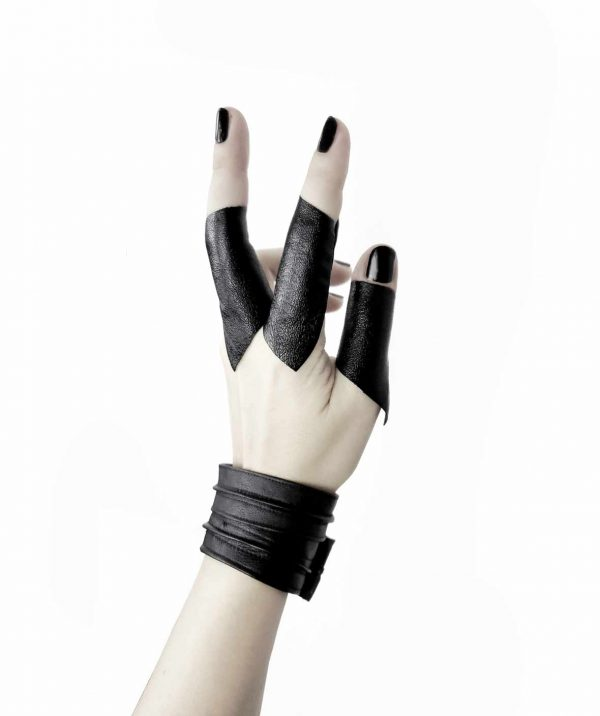 Sentinel's-bangle-black-vegan-leather-unisex-bracelets and cloak long vegan leather rannka rings