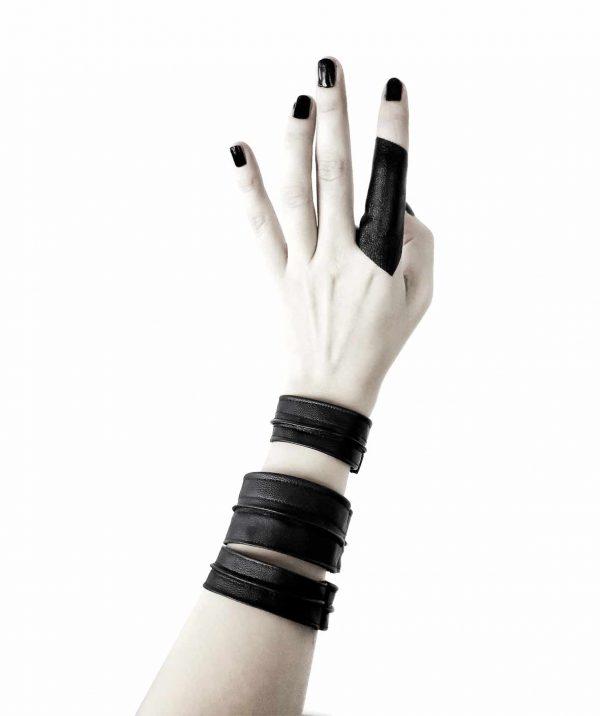 Sentinel's-bangles-rannka-cuffs-braceles-cloak-vegan-leather-ring