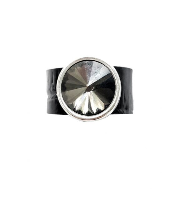 Shadow-Rock-stretch-black-sturdy-ring-band-with-black-genuine-Swarovski-crystal-black-stretch-sturdy-faux-leather