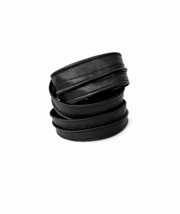 black-leather-Sentinel's-bangles-stacking-cuffs-rannka-armor-collection