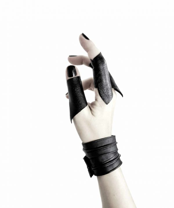 cloak-long-rannka-vegan-leather-ring-bands-sentinel;s-bangle-cuffs-unisex-armor-jewelry