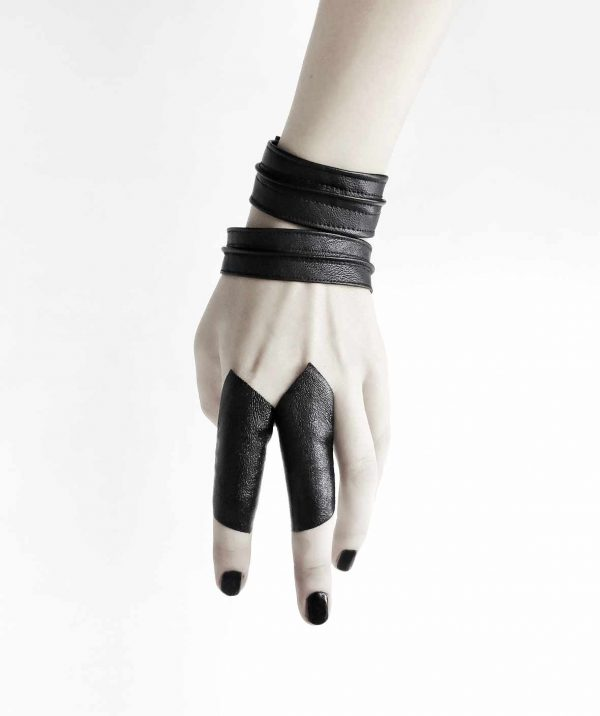 cloak-ring-black-vegan-leather-Sentinel's–bangle-cuff-rannka-armor-jewelry