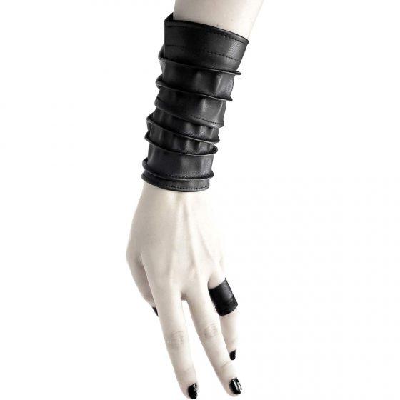 long-cuff-monolith-cuff-rannka-unisex-long-vegan-leather-black-bracelet