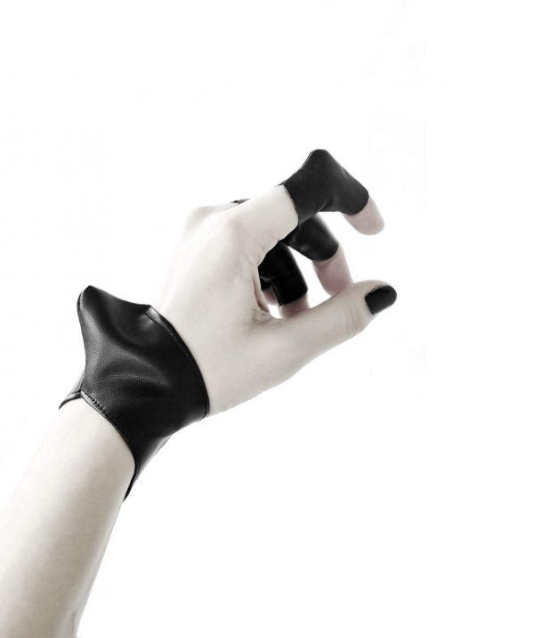 vulture-cuff-bracelet-and-vulture-ring-rannka-avant-garde-vegan-leather-armor-jewelry
