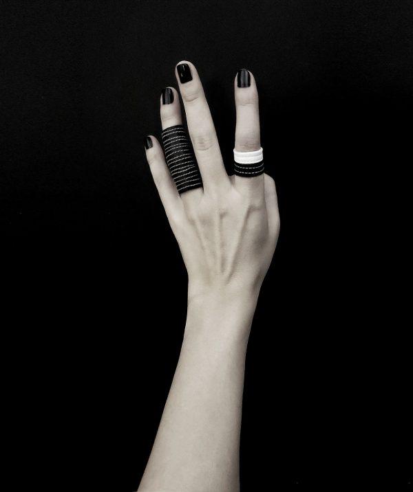 black-and-white-rannka-rings-vegan-leather-rings