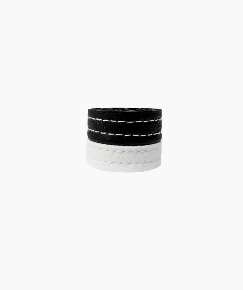 black-and-white-rannka-tower-ring-heavy-duty-unisex-leather-ring