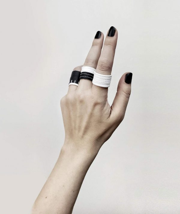 black-and-white-ring-bands-rannka-artic-prayer-black-and-white-jewelry-collection